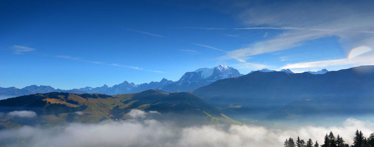 panoramique été vue Mont Blanc