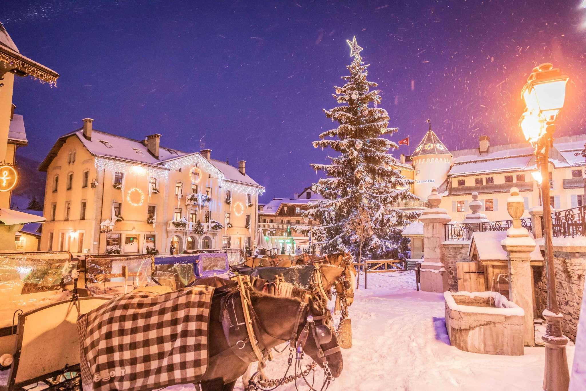 Calèches de nuit en hiver